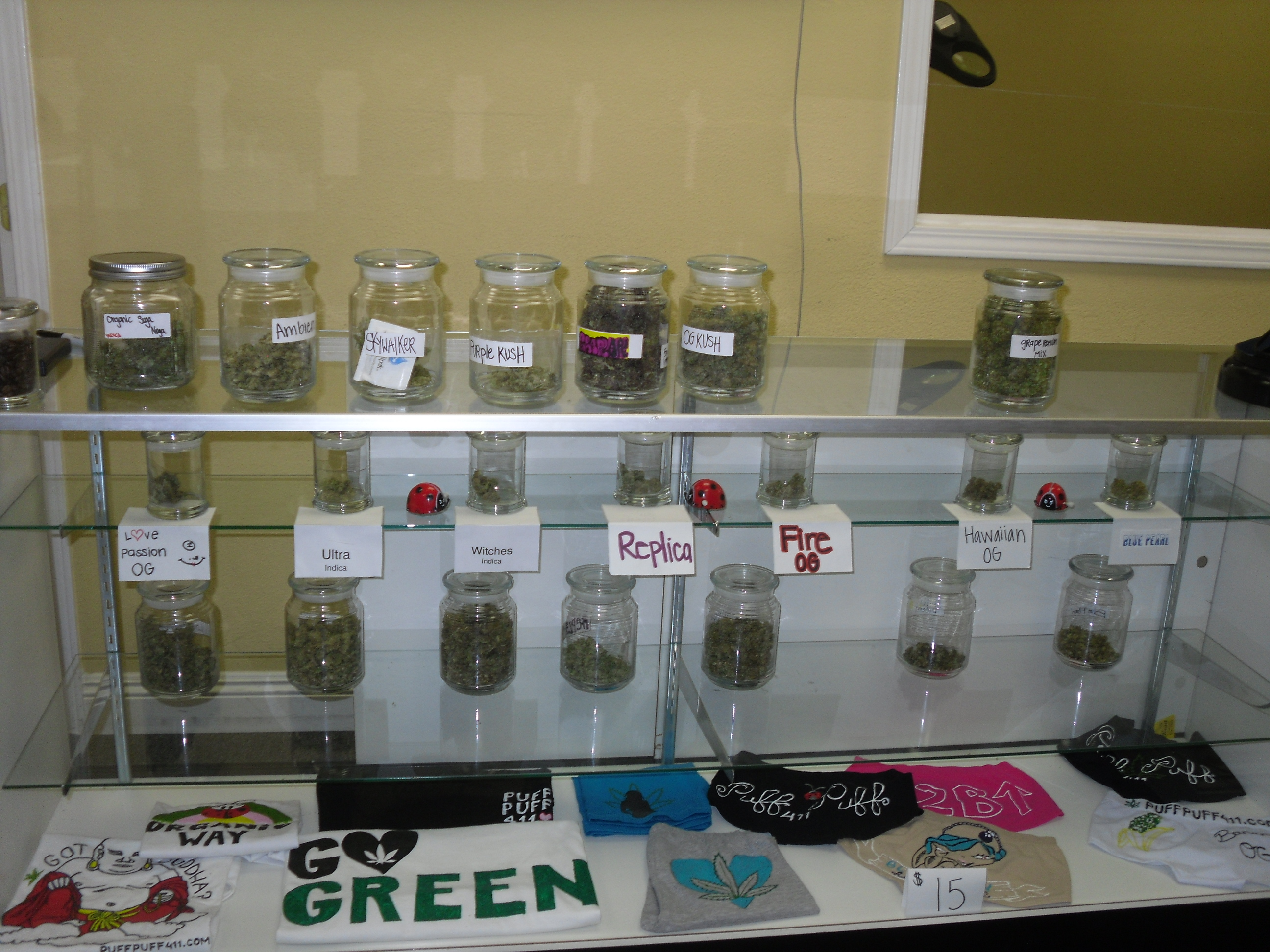 Display case at a Dispensary
