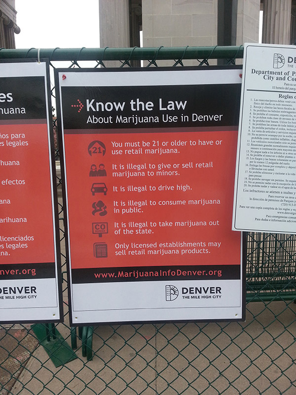 Denver laws posted at 420 Rally in Civic Center Park